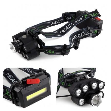 Lanterna de Cap cu 7 led XT6 CREE + 2 Acumulatori 3,7V