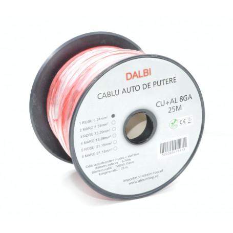 Cablu Auto de Putere Rosu CU+AL 8GA 6,7mm , 25m/Rola