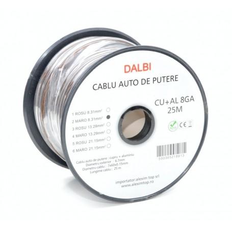 Cablu Auto de Putere Maro CU+AL 8GA 6,7mm , 25m/Rola
