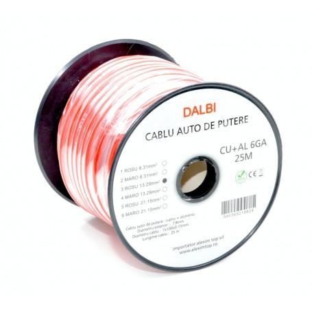 Cablu Auto de Putere Rosu CU+AL 6GA 7,8mm , 25m/Rola