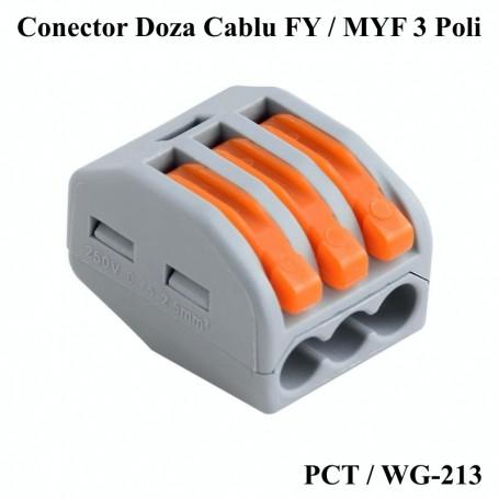 Conector Doza Tip WAGO 3 Poli , WA-213