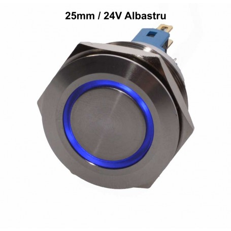 Push Buton 25mm / 24V Led Albastru