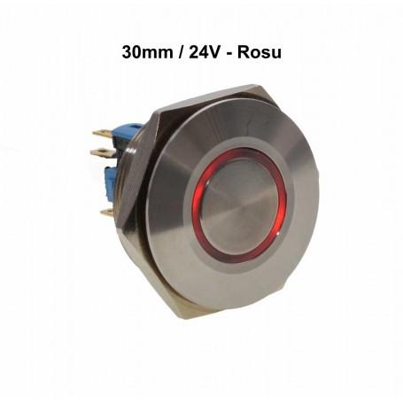 Push Buton 30mm / 24V Led Rosu